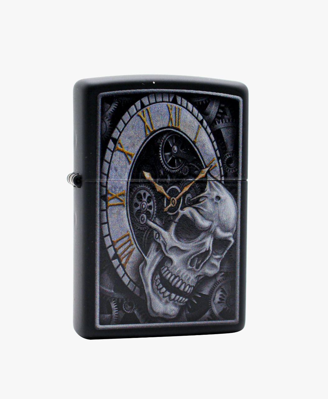 Isqueiro Zippo Skull Clock Design