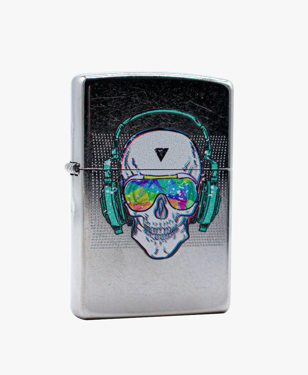 Isqueiro Zippo Skull HeadPhone