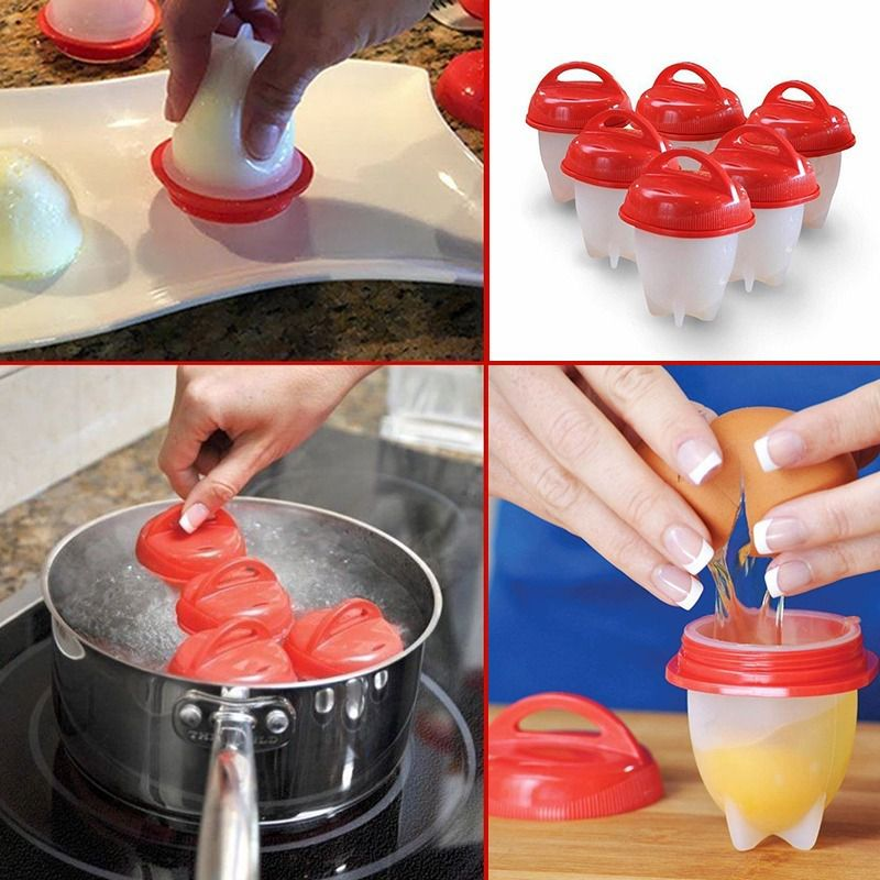 6 Copos Silicone Ovo Fogão Egglettes Duro Cooking Copo Ovos