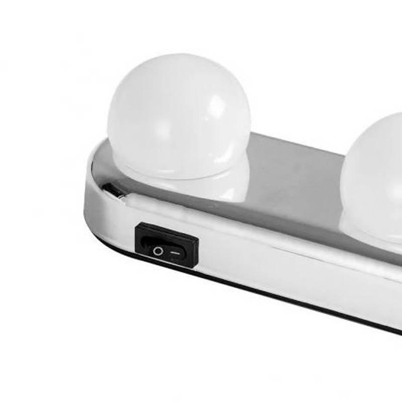 Arandela Camarim Luz Espelho Maquiagem LED 4 Lâmpadas Sem Fio Ventosa