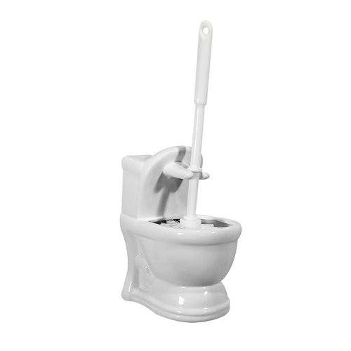 Escova Sanitária Com Suporte De Cerâmica Art House Preto e Branco