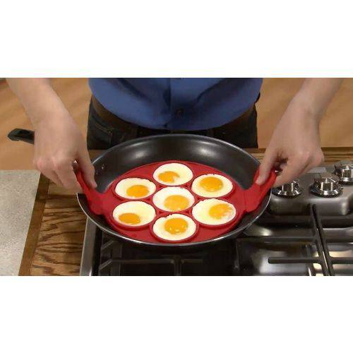 Forma de Silicone para Waffle Ovos Panqueca Antiaderente Flippin