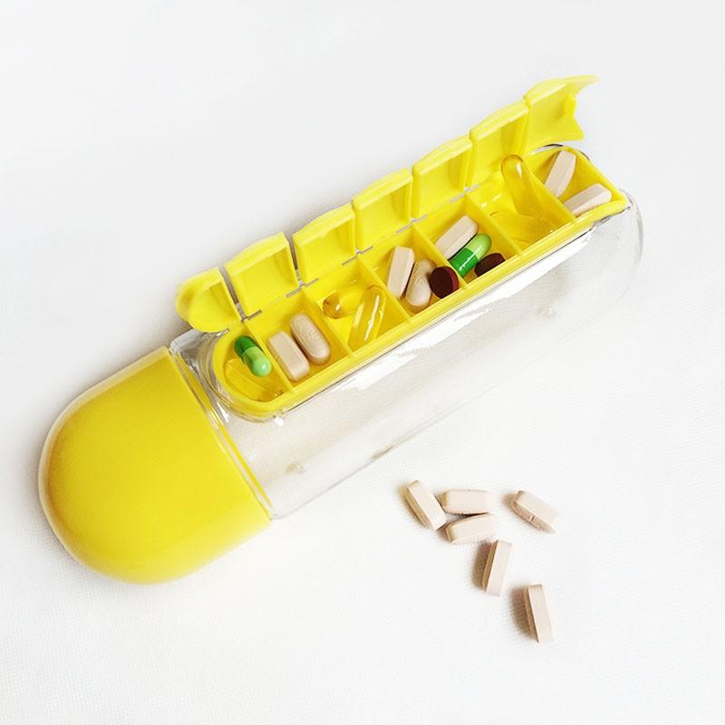 Garrafa 600 Ml Porta Pílula Vitamina e Remédios