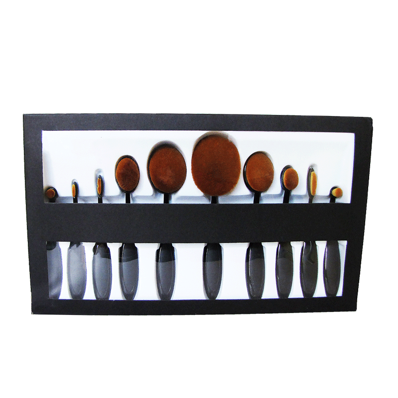 Kit 10 Pc Pincel Pinceis Escova Oval Ovais Maquiagem