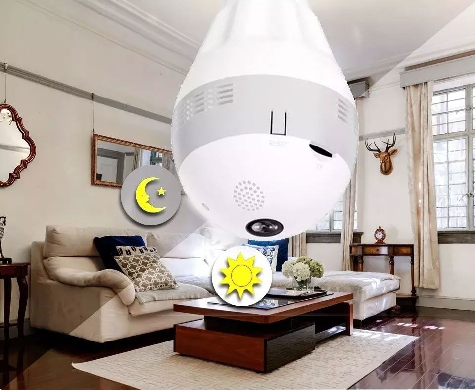 Lampada Câmera Hd Espiã 360º Infravermelho Panoraminca Ip Wifi
