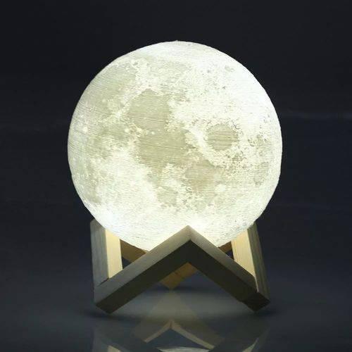 Luminária Lua 3D Abajur Led Usb Touch Variação Cores 15cm Nova