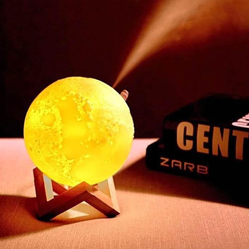 Luminária Umidificador Lua Cheia Purificador De Ambiente Usb