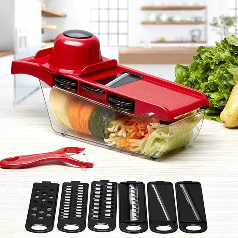 Mandoline Slicer 6 em 1 Nicer Ralador Fatiador Cortador De Legumes Aço Inoxidável