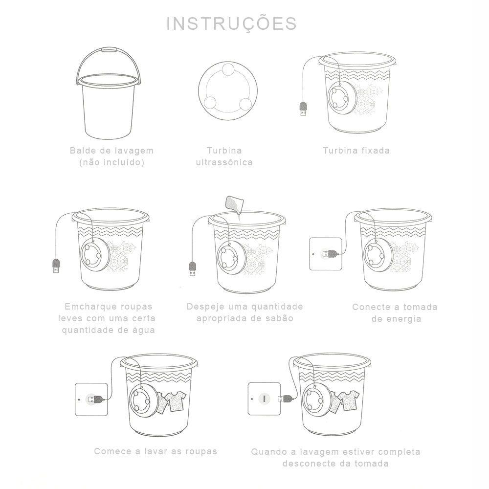 Mini Máquina De Lavar Portátil Ultrasônica Lavanderia Lavagem