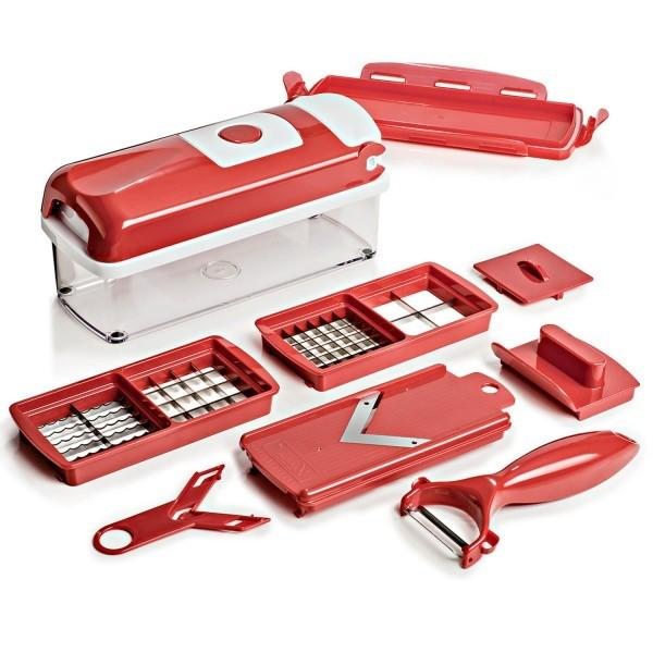 Nicer Vermelho e Roxo Ralador E Fatiador De Legumes Super Kit 8 Em 1