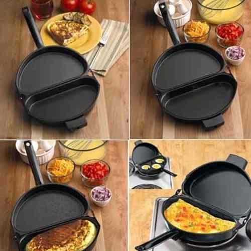 Omeleteira Paqueira Antiaderente Folding Pan Resistente