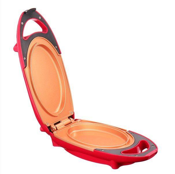 Panela De Cobre Vermelha Red Copper Duplamente Revestida Cerâmica 5 Minute Chef Omelete