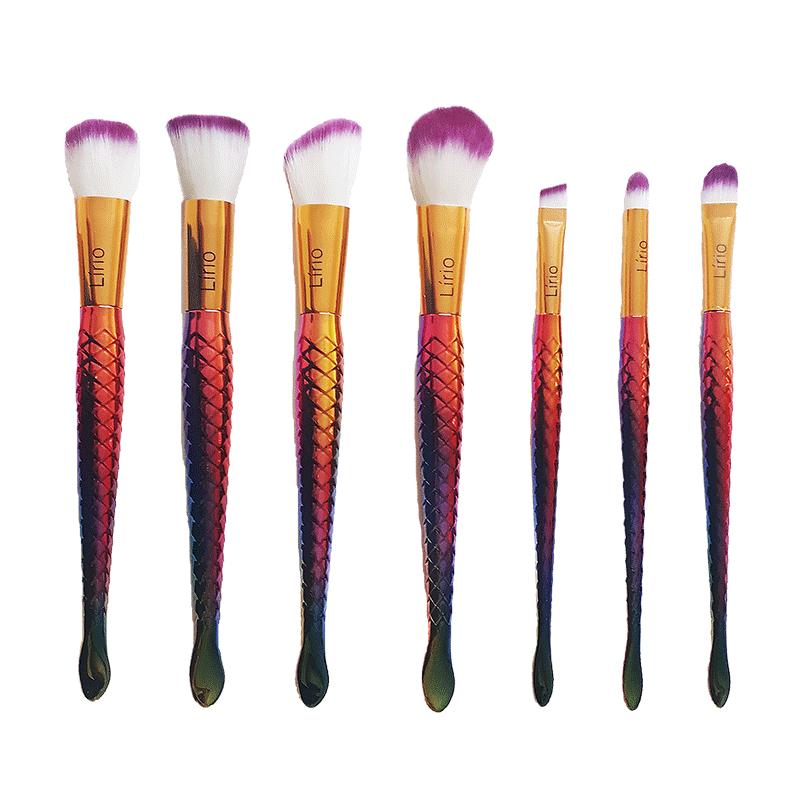 Pincel Sereia Luxo Cauda Escama Peixe Maquiagem Profissional Jogo 7 Pincéis Kit