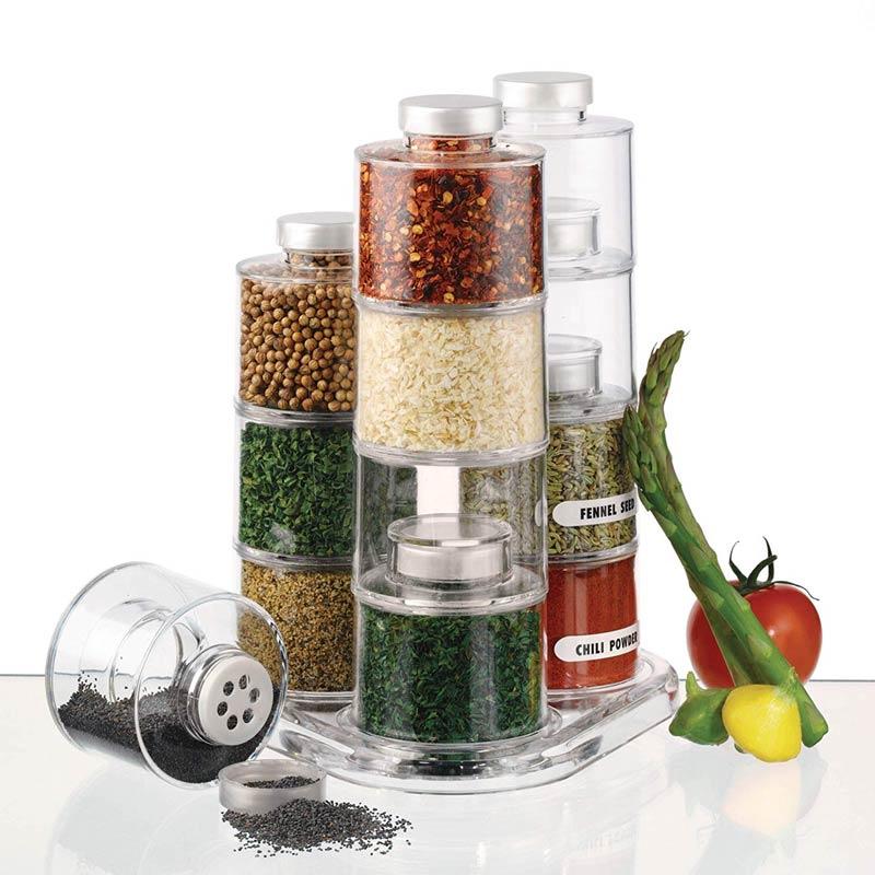 Porta Condimentos Temperos Spice Tower Carousel 12 Peças De Acrílico