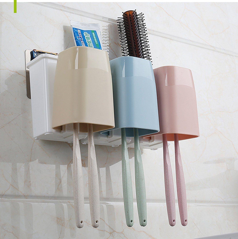 Porta Escovas De Dente De Parede Com Adesivo Fixador Toothbrush Combination Holder