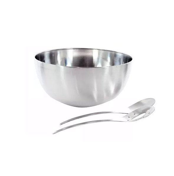 Tigela Saladeira Bowl Com 2 Pegadores Vazado E Colher Inox Cozinha