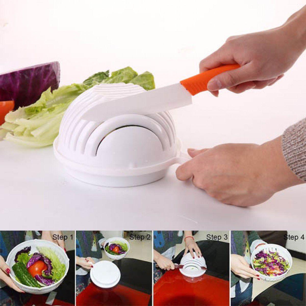 Cortador e Escorredor de Salada e Frutas Prático Giratório