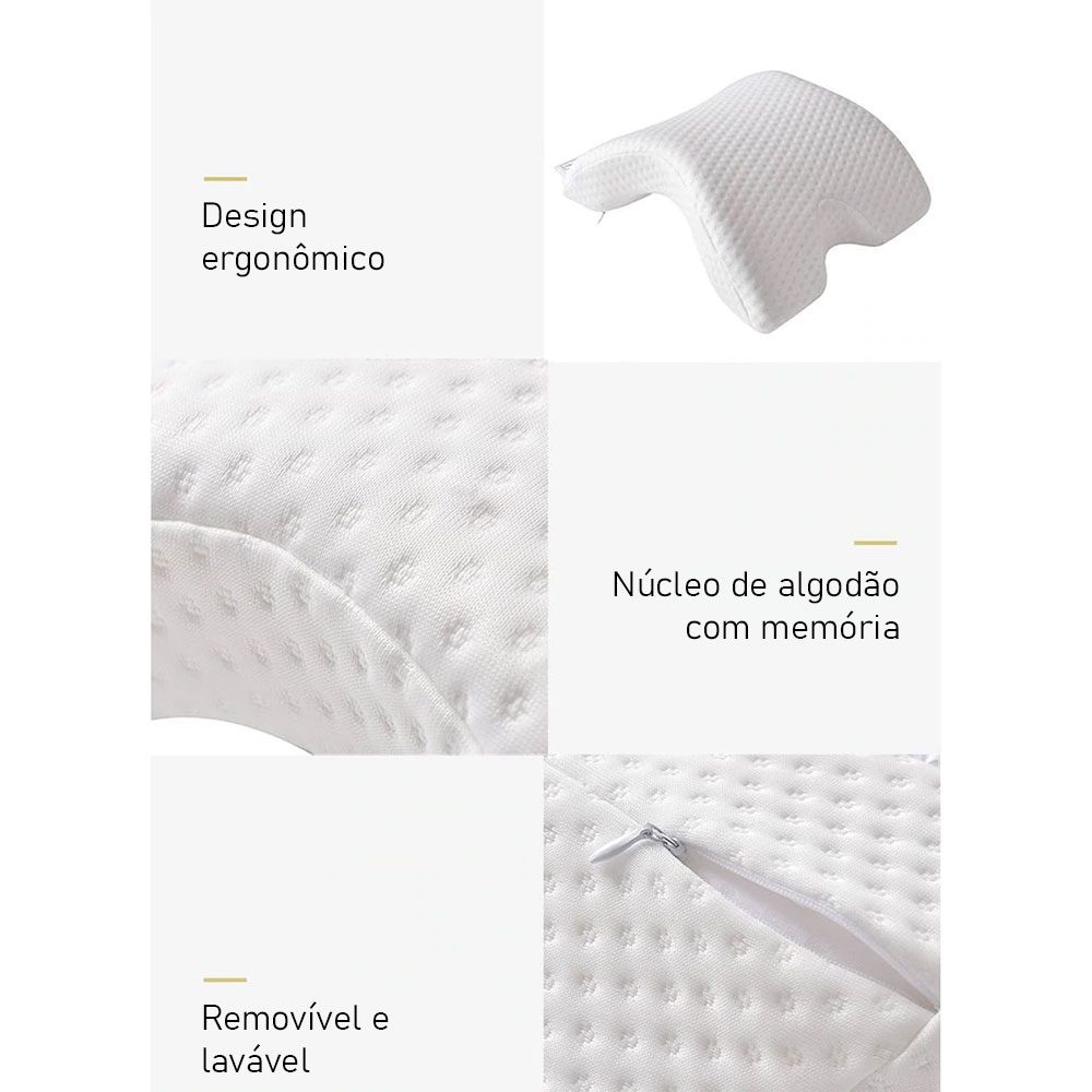 Travesseiro Almofada Lavável Memória Inteligente Ortopédico Pescoço Cabeça