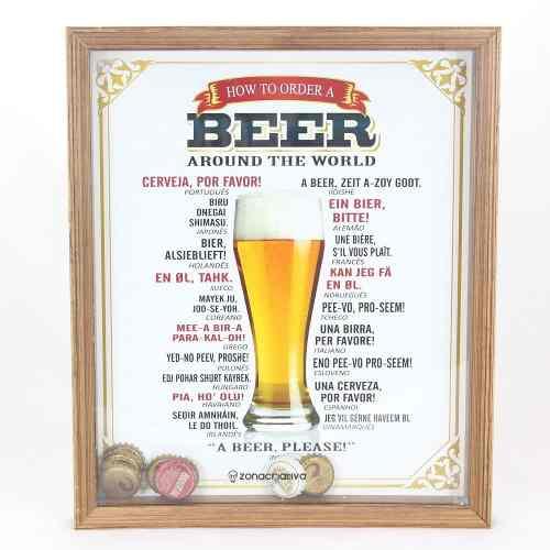 Quadro Decorativo Porta Tampa De Cerveja