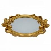 Bandeja Dourada de Plástico Laço com Espelho 26X40X4cm