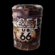 Banqueta de Metal com Abertura Grande Route 66 35x25cm