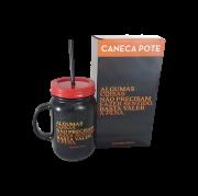 Caneca com Canudo com Frase Preto e Vermelho 550ml