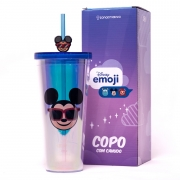 Copo canudo Mickey Holográfico Emoji 650ml - Zona Criativa