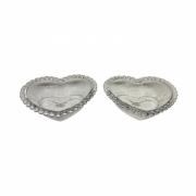 Jogo 2 Bowls Coração de Cristal Pearl Transparente  15X13X5cm - Wolff