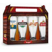Jogo 4 Copos Munich Sátira Cervejas Internacionais