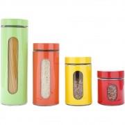Jogo 4 Porta Mantimentos Coloridos Aço Inox Fundo Vidro -  Bon Gourmet