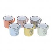 Jogo 6 Canecas De Porcelana Colorida Motive 130ml - Bon Gourmet