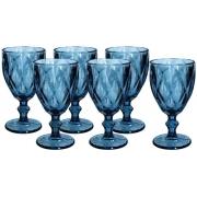Jogo 6 Taças de Vidro Diamond Azul 240ml   - Casambiente