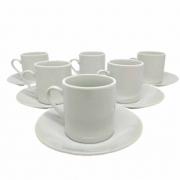 Jogo 6 Xícaras com Pires Porcelana para Café 90ml - Full White