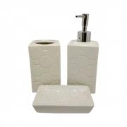Jogo de Banheiro de Cerâmica Branco 3 Peças - Rio de Ouro