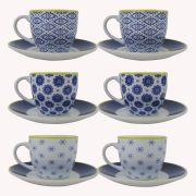 Jogo Xícara de Café 12 peças Detalhe Azul