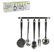 Kit de Utensílios de Cozinha e Suporte de Parede em Inox   6 pcs
