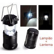 Lampião com Lanterna Luz Led Recarregável Luz Solar ou na Energia