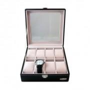 Porta Relógios e Joias com 8 Repartições Caixa Organizadora Aveludada