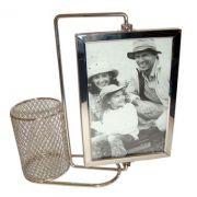 Porta Retrato Giratório com Porta Caneta em Aluminio