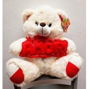 Urso Pelúcia Segurando Palavra Amor 33cm - Fizzy