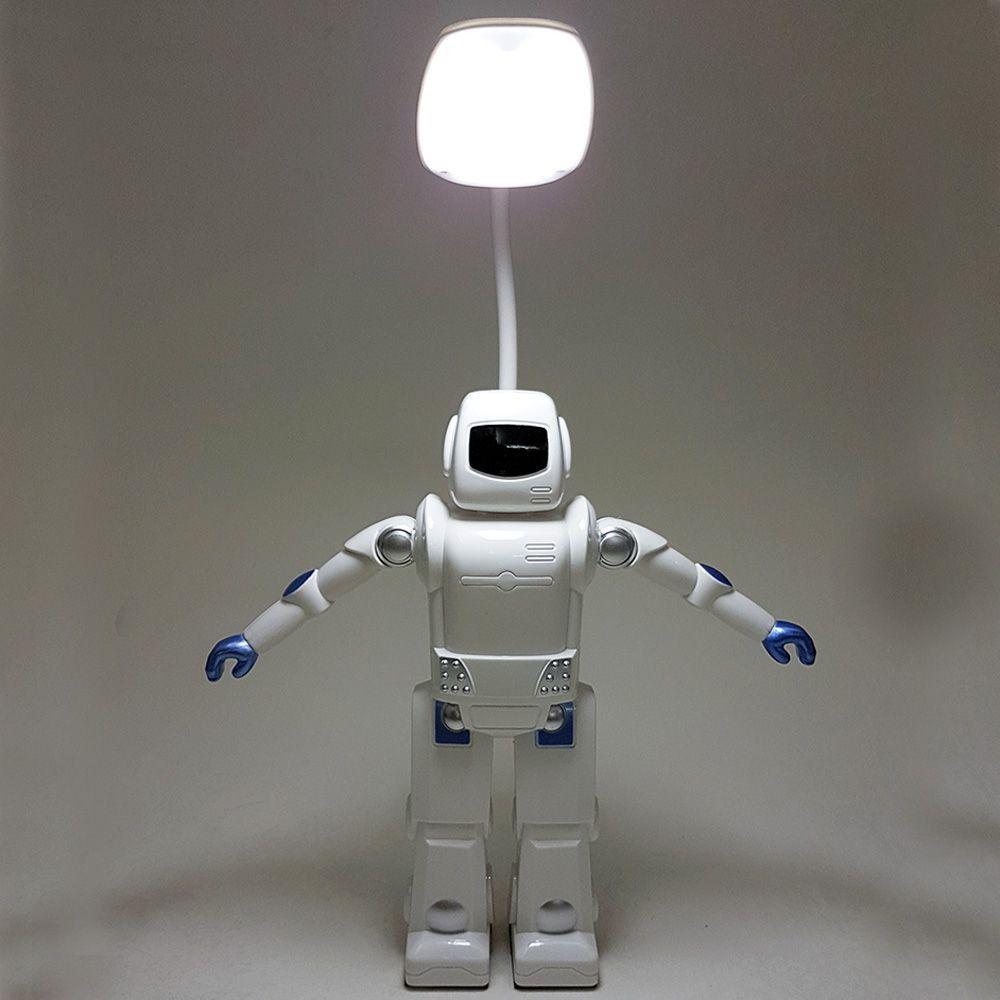 Abajur Robô Luminária gira 360º a Pilha e USB