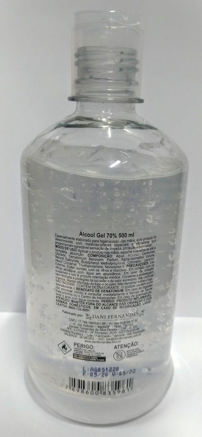 Álcool em Gel Antisséptico 70% 500ml Dani Fernandes