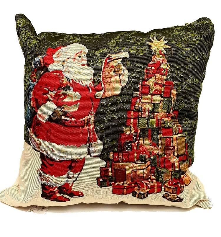 Almofada Papai Noel com Árvore Natal de Presentes 50x50cm