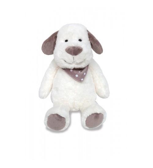 Baby Cachorro de Pelúcia Branco com Cinza
