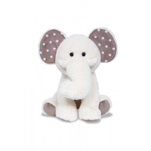 Baby Elefante de Pelúcia cor Branca com Detalhes Cinza