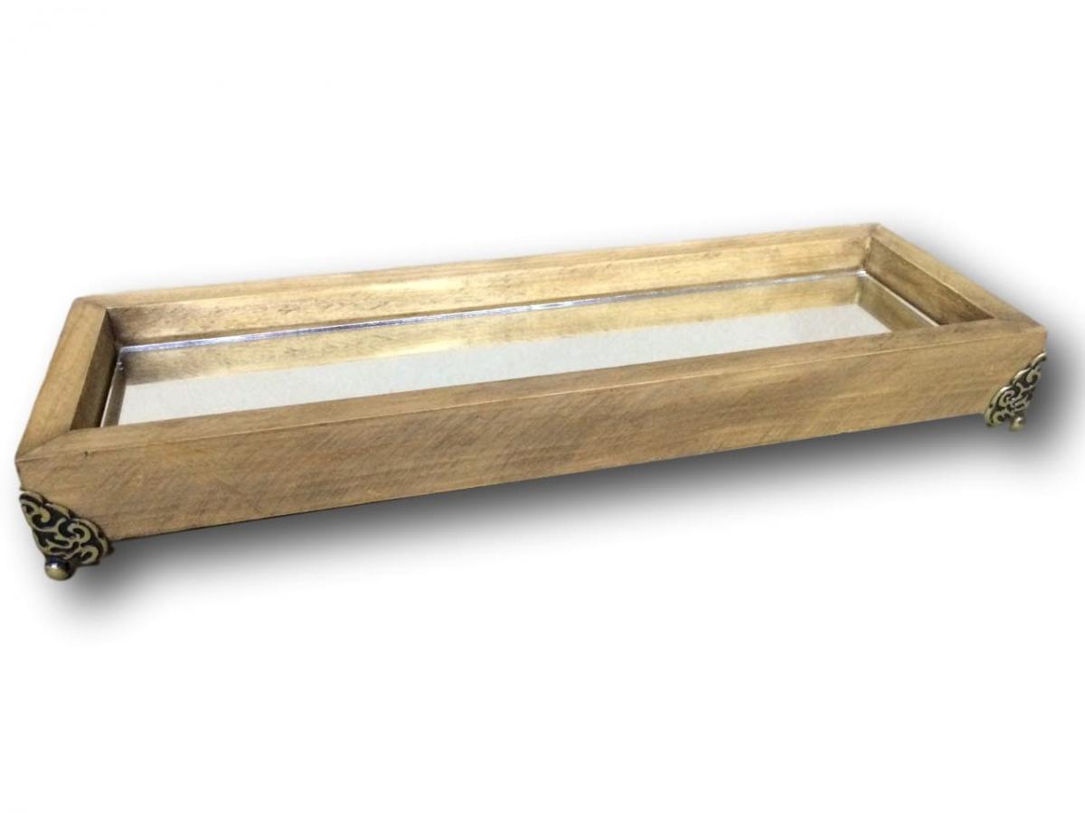 Bandeja de Madeira com Base em Vidro e Pé de Metal Tamanho 37x12cm