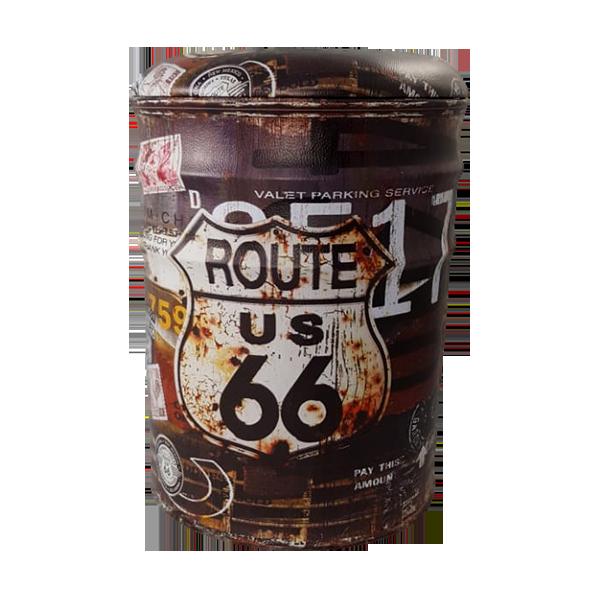 Banqueta de Metal com Abertura Grande Route 66 38x30cm