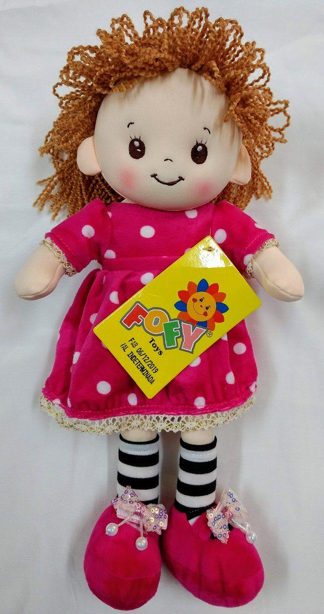 Boneca Vestido Pink Cabelo Cacheado 38cm