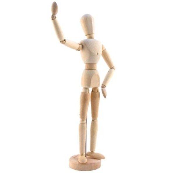 Boneco Articulado em Madeira 30cm