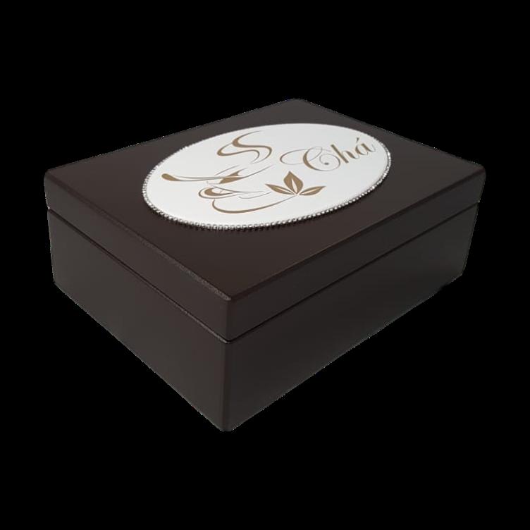 Caixa de Chá Tabaco com Desenho